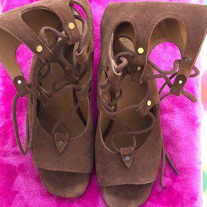 Chloe Brown Foster Suede Gladiator Sandals Wedges